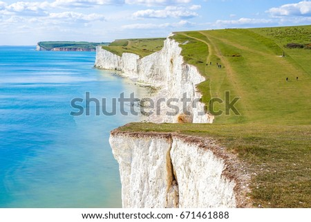 Beautiful Coastline of The Seven Sister Chalk Cliff, East Sussex, Eastbourne , England, United Kingdom #671461888