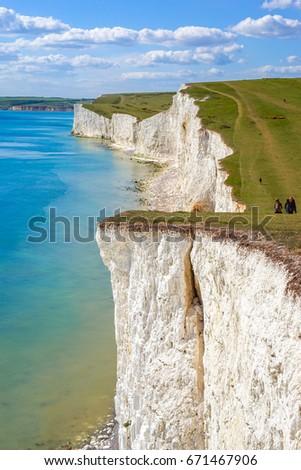 Beautiful Coastline of The Seven Sister Chalk Cliff, East Sussex, Eastbourne , England, United Kingdom #671467906