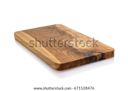 One wooden cutting Board on white background. Iisolate on white #671528476