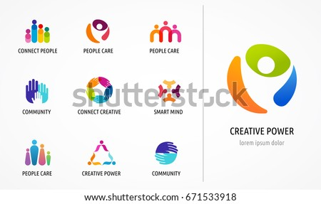 People, community, creative hub, social connection icons and logo set #671533918