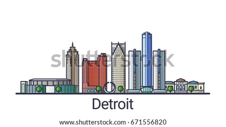 Banner of Detroit city in flat line trendy style. Detroit city line art. All buildings separated and customizable.