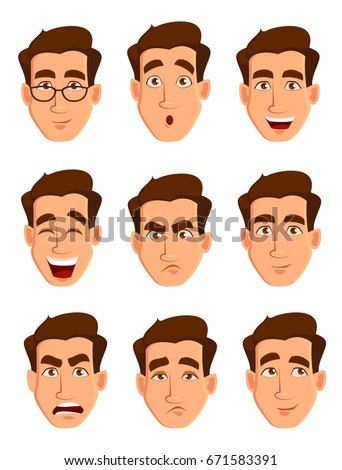 Face expressions of a man. Different male emotions set. Attractive cartoon character. Vector illustration isolated on white background.