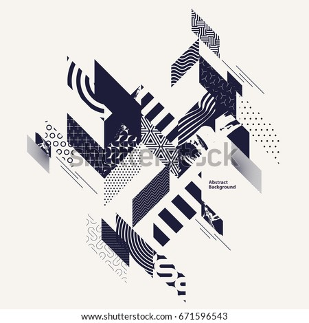Abstract art background with geometric elements Royalty-Free Stock Photo #671596543