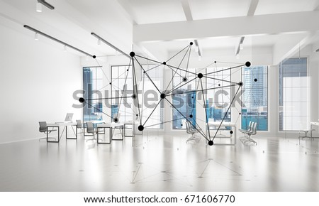 Lines connected with dots as social communication concept in office interior. 3D rendering #671606770