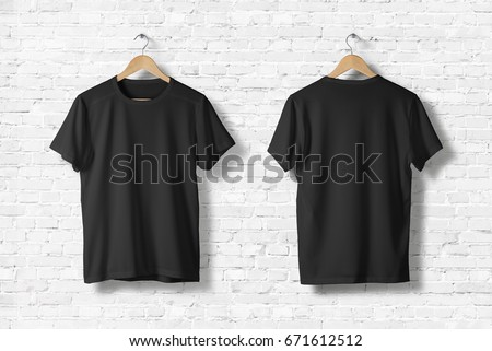 Blank Black T-Shirts Mock-up hanging on white wall, front and rear side view . Ready to replace your design Royalty-Free Stock Photo #671612512