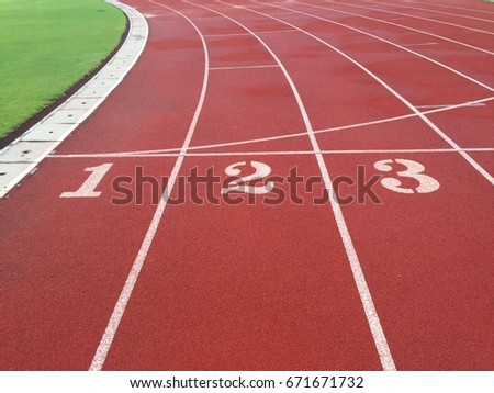 Running track texture with lane numbers #671671732