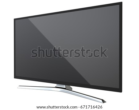 Perspective view of television TV or computer PC monitor display led or lcd, isolated on white background 3d render. #671716426