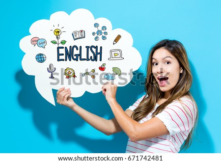English text with young woman holding a speech bubble on a blue background Royalty-Free Stock Photo #671742481