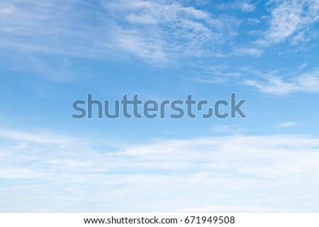 Blue sky with White cloud background in day time #671949508