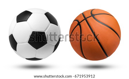 Soccer ball and Basketball ball on isolated. File contains a clipping path. #671953912