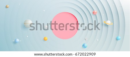 Solar system paper art style background vector illustration