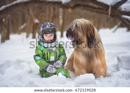 Dog breed Briard and a little boy in a snowy landscape #672159028