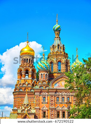 Famous church of the Savior on Spilled Blood in Saint Petersburg, Russia. #672190522
