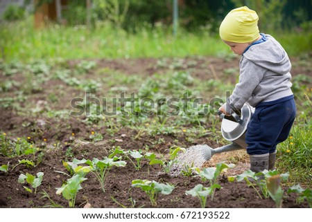 Cute little toddler boy watering plants with watering can in the garden. Adorable little child helping parents to grow vegetables. Activities with children outdoors. #672193522