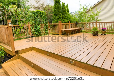 Wooden deck of family home. #672201631