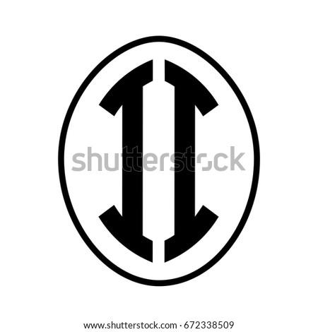 Black monogram curved oval shape initial letter ii logo vector #672338509
