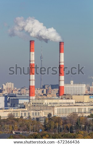 View from the Sparrow Hills at two thermal power stations and the Ostankino Tower #672366436