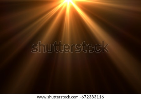 Warm sun rays light effects isolated on black background for overlay design  Royalty-Free Stock Photo #672383116