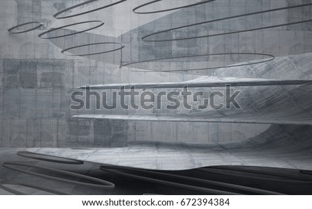 Empty dark abstract concrete smooth interior . Architectural background. 3D illustration and rendering #672394384