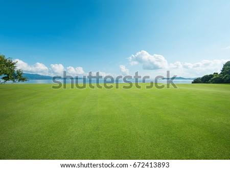 Seaside  Grassland Royalty-Free Stock Photo #672413893