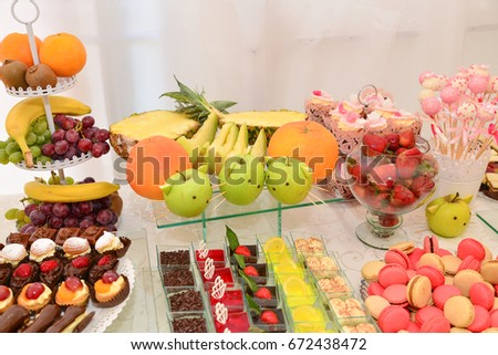 delicious sweets on the table #672438472