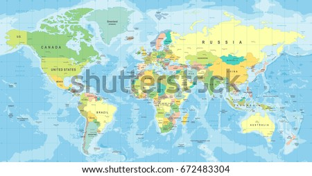 World Map Vector. High detailed illustration of worldmap #672483304