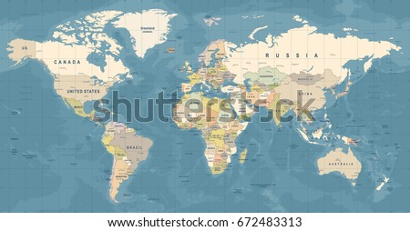 World Map Vector. High detailed illustration of worldmap #672483313