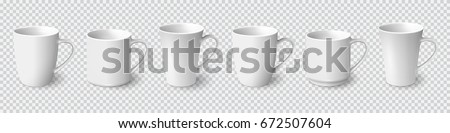 Set of realistic white coffee mugs isolated on transparent background. Vector templates for Mock Up. Vector illustration #672507604