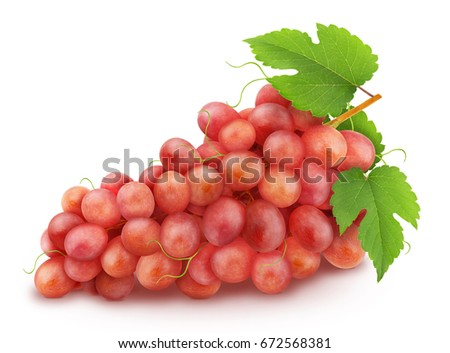 Red grape with leaves isolated on a white