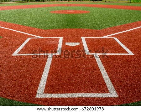 View from behind home plate and the batter's box of an artificial turf baseball field. #672601978