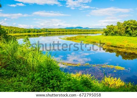 Landscape View of Mae Puem Reservoir, Thailand #672795058