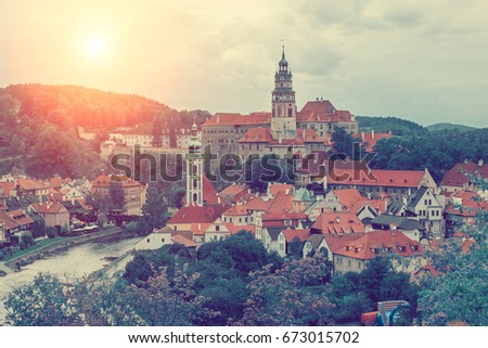 Beautiful old town with historic castle, church and river. Toned #673015702