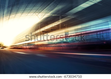 Blurry chromatic color tunnel car traffic motion blur. Motion blur  the speed and dynamics. #673034710