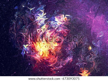 Abstract galaxy watercolor background. Colorful cosmic texture. Oil painting impressionism style.
