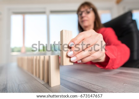 Business progress concept with wood blocks #673147657