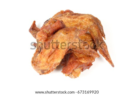 Grilled Fried Chicken Buffalo wing on white background 