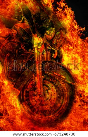 Abstract image of a huge powerful sci-fi tale in a flame of fire, the symbol of an angel of death. Conceptual blank for background illustration of scary stories and horror.