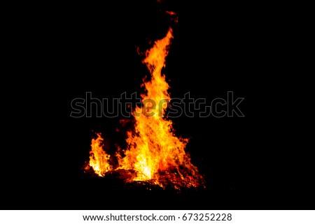 Bonfire blur silhouette Black background light #673252228
