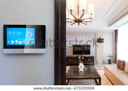 smart screen on wall with luxury living room #673330504