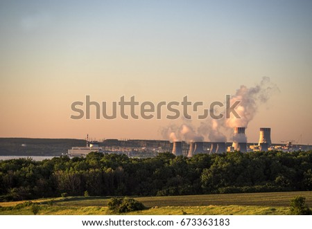 Cooling towers at nuclear power station #673363183