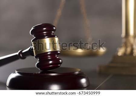 Gavel. Law concept. Gray background. #673450999