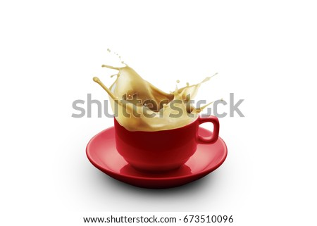 Milk tea splash from a cup isolated on white background  #673510096