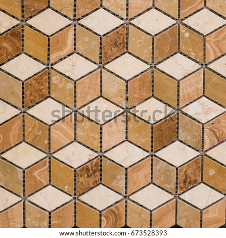 Texture of colored glossy mosaic tile #673528393
