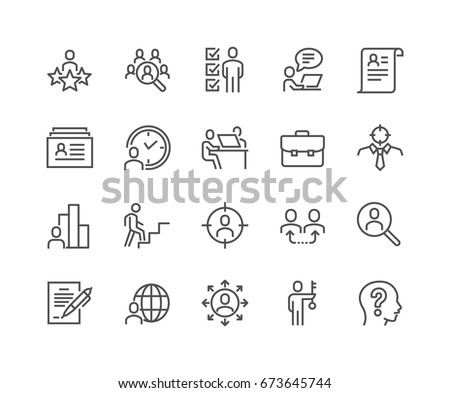 Simple Set of Head Hunting Related Vector Line Icons. Contains such Icons as Job Interview, Career Path, Resume and more. Editable Stroke. 48x48 Pixel Perfect.