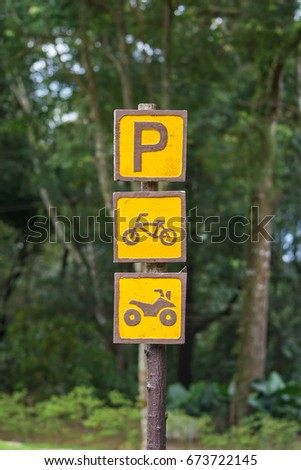 Parking Sign bicycle and motorcycle