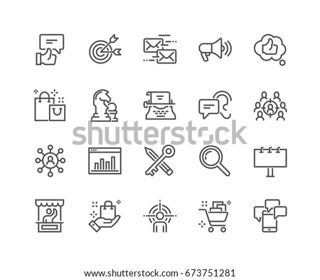 Simple Set of Marketing Related Vector Line Icons.  Contains such Icons as Mail Marketing, Target Audience, Keywording, Product Presentation and more. Editable Stroke. 48x48 Pixel Perfect. #673751281