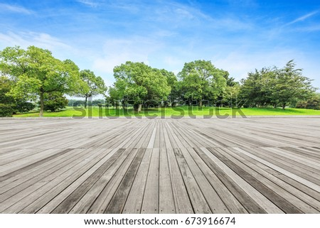 Board platform and green tree #673916674