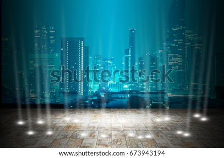 abstract stage light with night modern city background