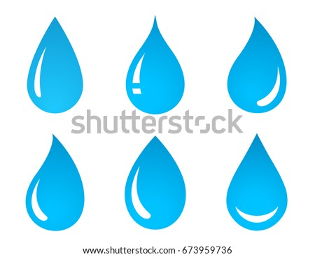 abstract set of blue water drop icons on white background Royalty-Free Stock Photo #673959736