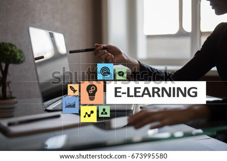 E-Learning on the virtual screen. Internet education concept. #673995580